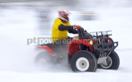 Sports : Quad bike driver rides over snow track #06990