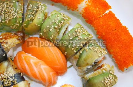 Food & Drink: Close-up japanese colorful sushi set on a white plate #07001