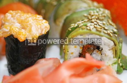 Food & Drink: Close-up japanese colorful sushi set on a white plate #07002