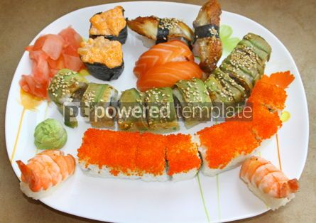 Food & Drink: Japanese colorful sushi set on a white plate #07003