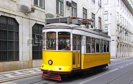 Transportation: Typical yellow tram on the street of Lisbon #07015