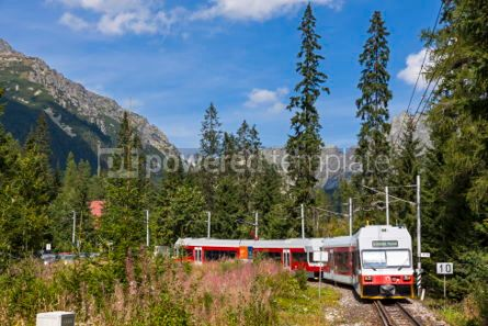 Transportation: Tatra Electric Railways train in High Tatras Slovakia #07025