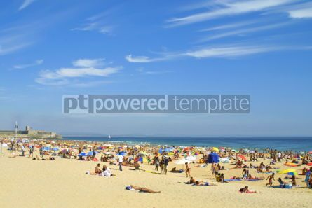 Nature: Crowded Atlantic beach in Carcavelos Portugal #07031