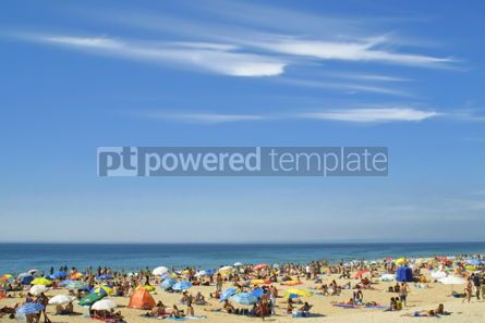 Nature: Crowded Atlantic beach in Carcavelos Portugal #07032