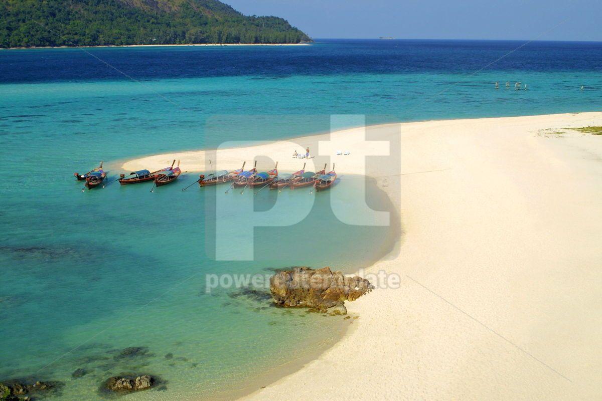 Fish boats on the sand beach on Lipe island in Andaman sea Thai, 07036, Nature — PoweredTemplate.com