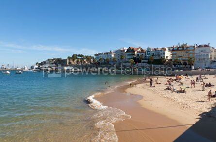 Nature: People sunbathing on the beach in Cascais Portugal #07053