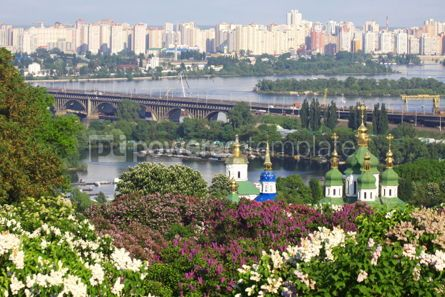 Nature: Kyiv Botanic Garden in spring. View to the Vydubichi monastery a #07084