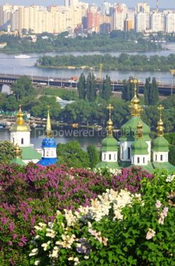 Nature: Kyiv Botanic Garden in spring. View to the Vydubichi monastery a #07085