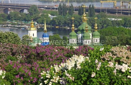 Nature: Kyiv Botanic Garden in spring. View to the Vydubichi monastery a #07086