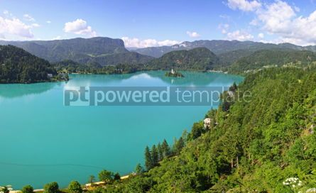 Nature: Panoramic view of Bled Lake Slovenia #07116