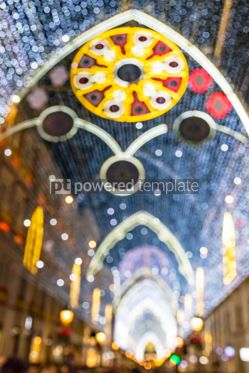 Holidays: Blurred bokeh of Christmas street decorations in Malaga Spain #07127