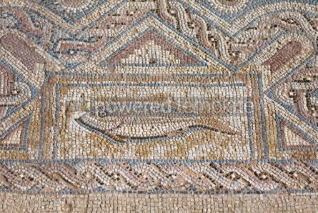Architecture: Fragment of ancient religious mosaic in Kourion Cyprus #07162