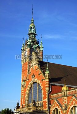 Architecture : Facade of historic building of Railway station in Gdansk Poland #07173