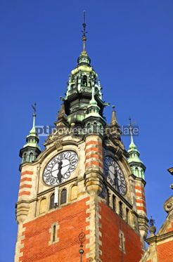 Architecture : Clock Tower of the Railway station in Gdansk Poland #07174