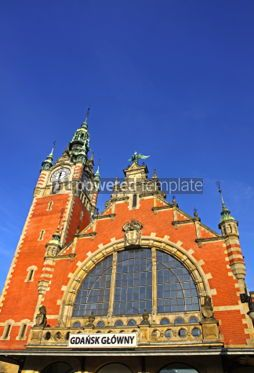 Architecture : Facade of historic building of Railway station in Gdansk Poland #07175