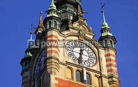 Architecture : Clock Tower of the Railway station in Gdansk Poland #07176