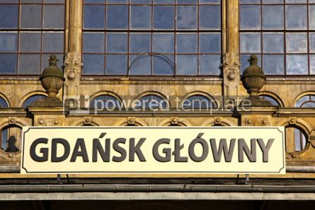 Architecture : Details of building of Railway station in Gdansk Poland #07177