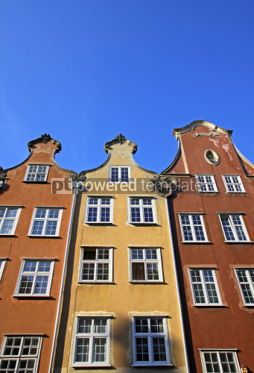 Architecture : Colourful old buildings in City of Gdansk Poland #07178