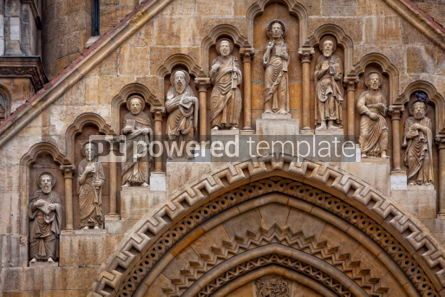Architecture: Religious sculptures on the facade of Jak Chapel in Budapest #07186