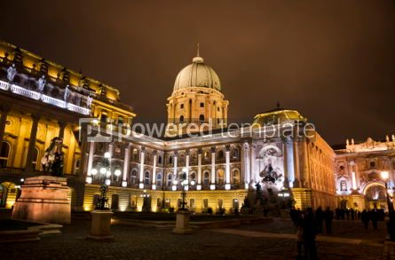 Architecture : Buda castle inner courtyard at night Budapest Hungary #07187