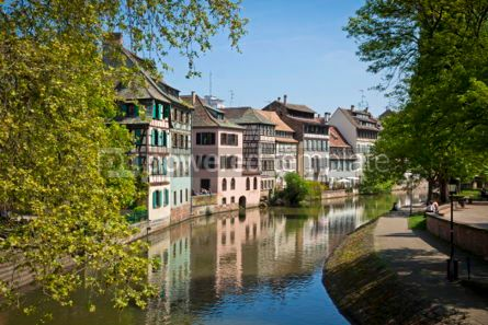 Architecture : Water canal on Grand Ile island in center of Strasbourg France #07209