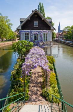 Architecture : Water canals on Grand Ile island in Strasbourg France #07210