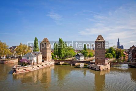 Architecture : Strasbourg city Alsace province France. View from Barrage Vaub #07211