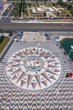 Architecture : Mosaic map of the Portuguese discoveries in Belem Lisbon Portu #07222