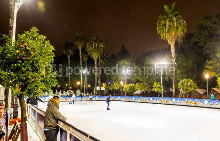 People: Skating rink at Christmas fair in Sevilla Spain #07392