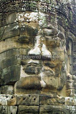 Architecture: Face of Bayon temple Angkor Cambodia  #07412