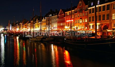Architecture : Nyhavn harbor in night Copenhagen Denmark #07426