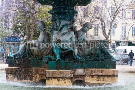 Architecture : Bronze fountain at Rossio square in Lisbon #07431