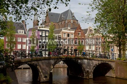 Architecture : Amsterdam canals with bridge and typical dutch houses #07439