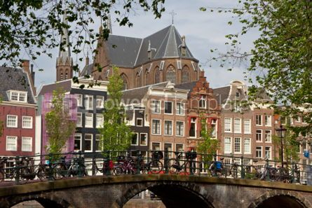 Architecture : Amsterdam view with bridge and typical dutch houses #07440
