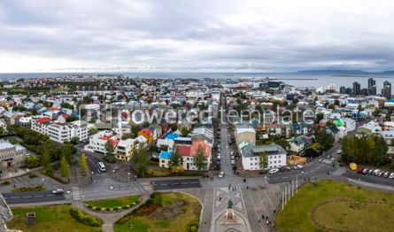 Architecture : Panoramic aerial view of Reykjavik city Iceland #07467
