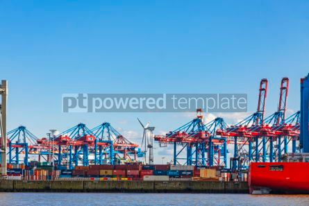 Industrial: Port of Hamburg on the river Elbe Germany #07503