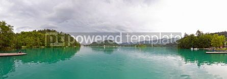 Nature: Panoramic view of Bled Lake in spring Slovenia #07542