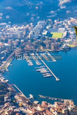 Nature: Aerial view of City of Como on Lake Como Italy #07557