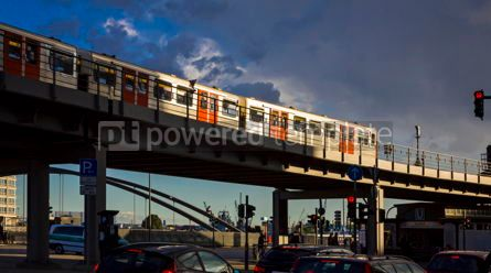 Transportation: U-Bahn train moves on the Binnenhafenbrucke bridge in Hamburg G #07577