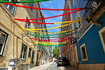 Arts & Entertainment: Lisbon street with holiday decoration during Lisbon Festival Po #07589