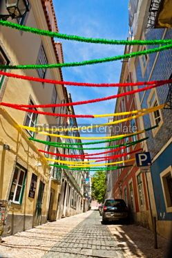 Arts & Entertainment: Lisbon street with holiday decoration during Lisbon Festival Po #07590
