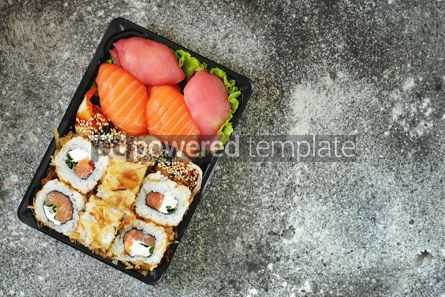 Food & Drink: Sushi roll with salmon soft cheese and tuna. Sushi delivery to home.  #07615