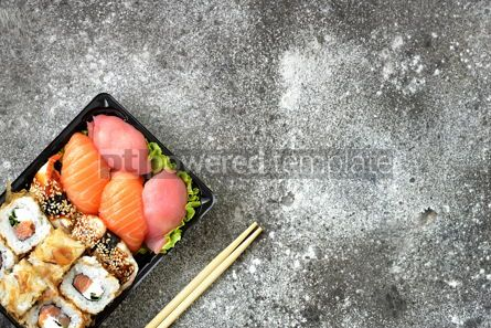 Food & Drink: Sushi roll with salmon soft cheese and tuna. Sushi delivery to home. Healthy food. Top view.  #07621