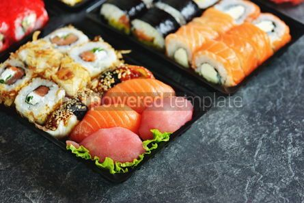 Food & Drink: Sushi roll with salmon soft cheese and tuna. Sushi delivery to home. Healthy food.  #07623