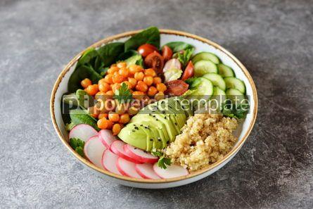 Food & Drink: Healthy vegetarian salad with chickpeas quinoa cherry tomatoes cucumber radish #07636