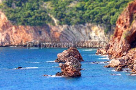 Nature: Rocky seacoast landscape. Adriatic sea Montenegro (Tilt-shift m #07664
