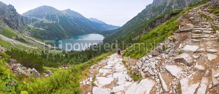 Nature: Panoramic view of Morskie Oko lake Tatra Mountains Poland #07715