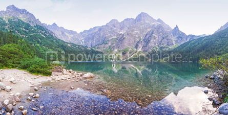 Nature: Panoramic view of Morskie Oko lake Poland #07716