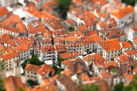 Architecture : Bird eye view of buildings in Kotor old town Montenegro. Tilt-s #07755