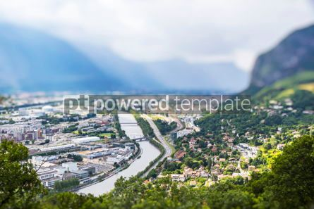 Architecture : Panoramic aerial view of Grenoble city France #07759